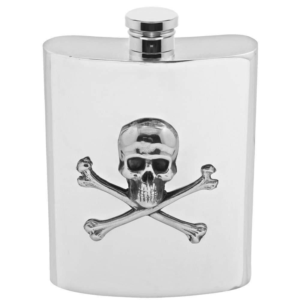 English Pewter Company 6oz Skull & Cross Bones Liquor Hip Flask [SF670]