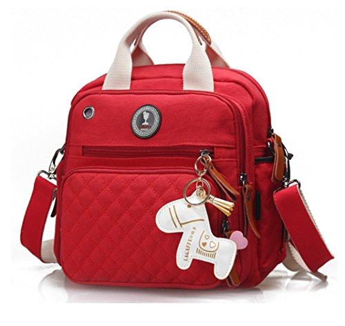 Keshi Leinwand Cool Damen Handtaschen, Hobo-Bags, Schultertaschen, Beutel, Beuteltaschen, Trend-Bags, Velours, Veloursleder, Wildleder, Tasche Rot