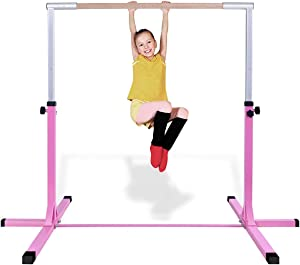 Costzon Gymnastic Training Bar, Junior Horizontal Kip Bar, 3' to 5' Height Adjustable, Gymnasts 1-4 Levels, 220 lbs Weight Capacity, Ideal for Indoors, Home Practice