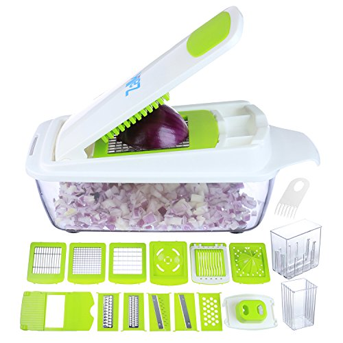 Zalik Vegetable Chopper Slicer Dicer Cutter & Grater - 11 Interchangeable Stainless Steel Blades - Heavy Duty Multi Fruit Cheese & Onion Chopper Dicer Kitchen Cutter (Vegetables Chopper For)