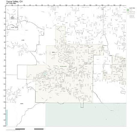 Amazon.com: ZIP Code Wall Map of Yucca Valley, CA ZIP Code Map