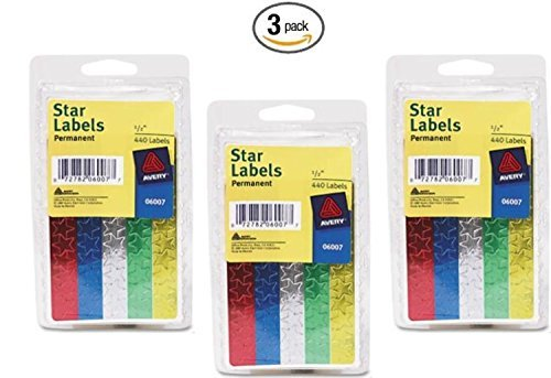Avery® Assorted Foil Star Labels 6007, 1/2