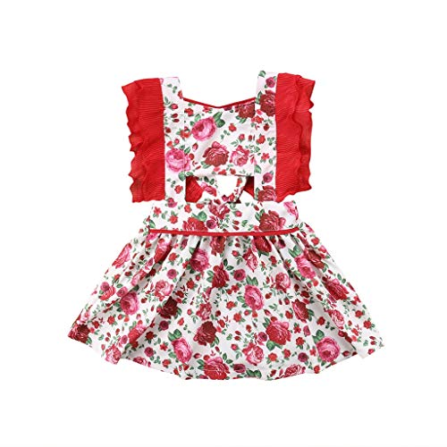 Family Clothes Matching, Red Flower Toddler Kid Baby Girls Sister Matching Outfits Jumpsuit Rompers Dress Outfits Summer 18M]()