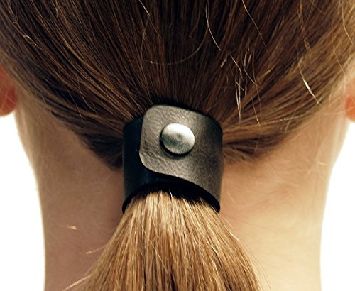Vintage Espresso hair tie by Hairtyz (single piece) | Leather ponytail holder - hair accessory - scrunchie | Hide your elastic band - modular - flexible | Snap them together for long hair