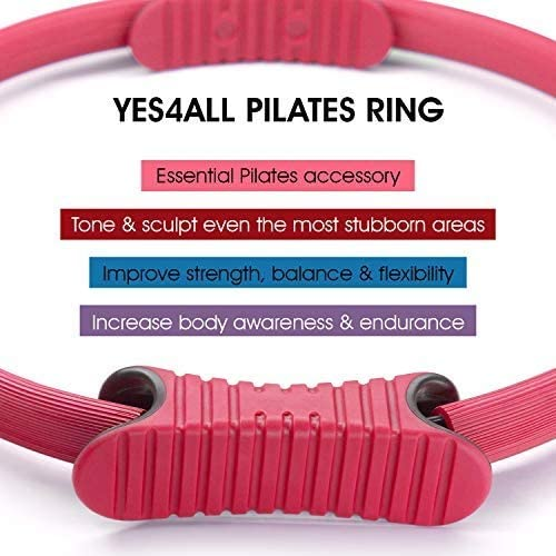 Pink 2 lb Sand Ball Pair and Magic Circle Pilates Ring Pilates Resistance Ring Yes4All Soft Weighted Toning Ball