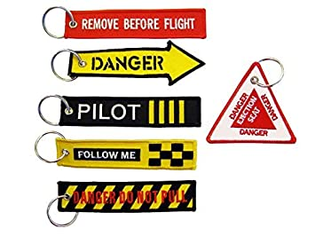 SET 6 llavero de bordado surtido - REMOVE BEFORE FLIGHT & Co ...