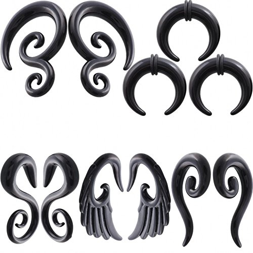 IPINK 5 Pairs Acrylic Spiral Snail Taper Plugs Tunnel Ear Stretcher Expander Kit Plugs 14-00 Gauges (5 Pairs of 2mm(12G)) (12 Gauge Ear)