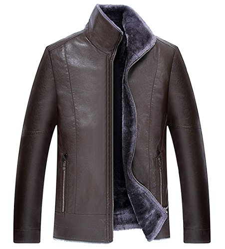 Outerwear Coat Winter Lambskin Thick Jacket Leather Men's Fur Parka Brown RUIYUNS Faux Quality High Warm WZwzIqYv