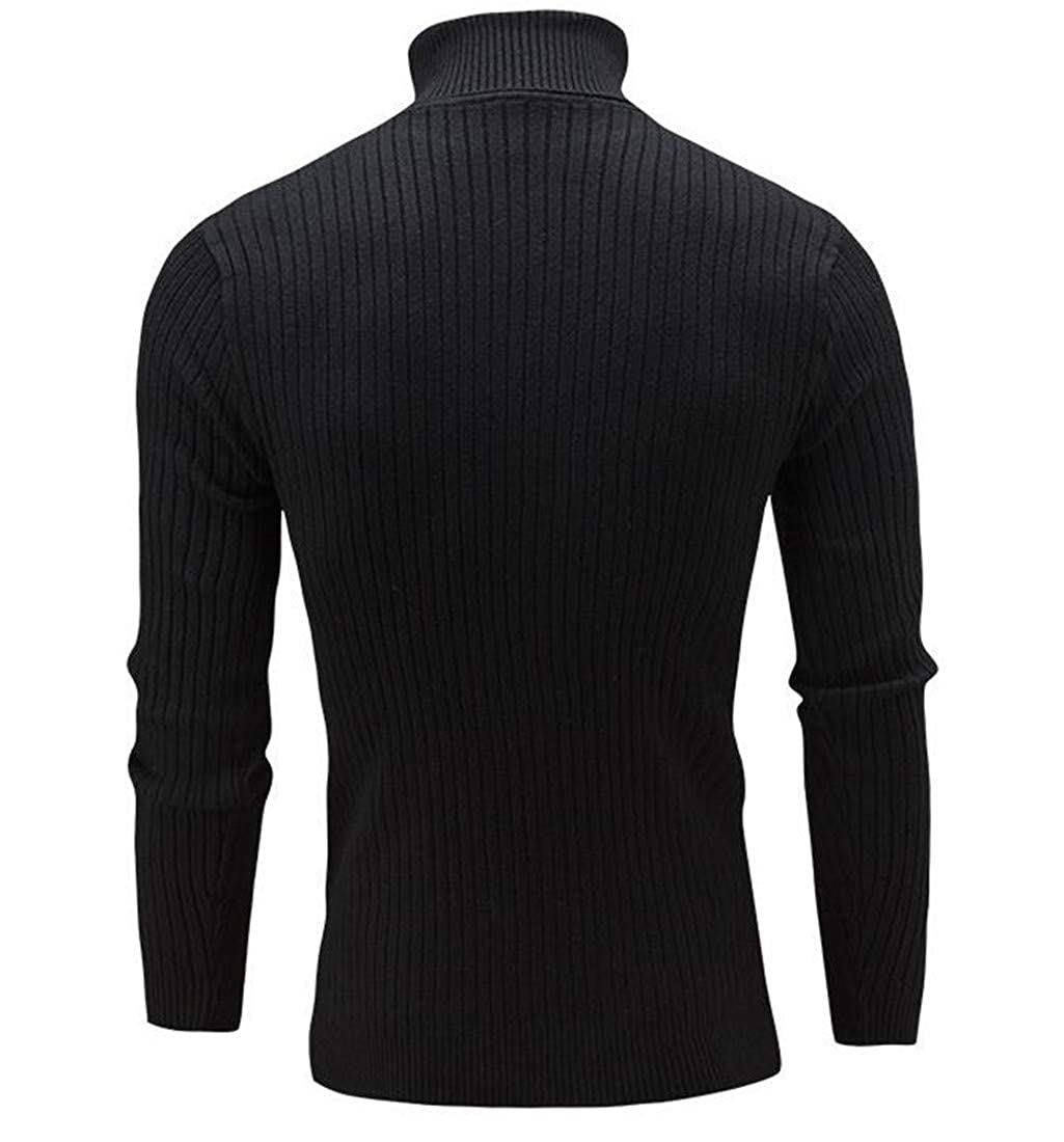 Sweatwater Mens Casual Turtle Neck Pullover Cable Knitteed Solid Color Sweaters