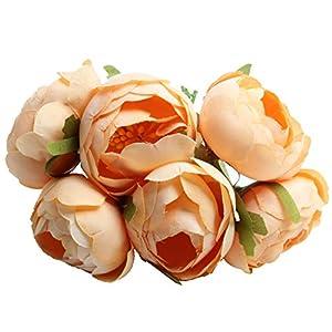 Jili Online 6 Pieces/Set Silk Artificial Rose Flowers Fake Plant Party Wedding Decor Arrangements Bunch Bridal Bouquet 74