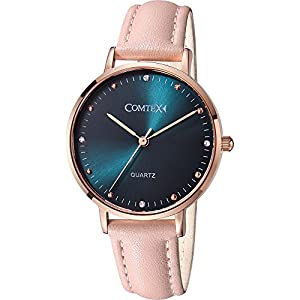Comtex Womens Watches Simple Elegant Quartz Women Wristwatch Blue Dial Rose Gold Case Pink Leather Strap Watch for…