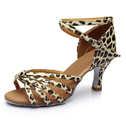Yumian Dancing Heels, Women's Professional Latin Dance Shoes Satin Salsa Ballroom Wedding Dancing Shoes 2.76'' Heel (38, Leopard Print)