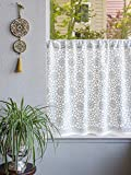 Saffron Marigold – Royal Mansour Quartz – Grey and White Moroccan Tile Inspired Hand Printed – Sheer Cotton Voile Kitchen Curtain Panel – Rod Pocket – (46 x 24)