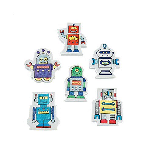 - Robot Erasers. Variety of Cool Designs (24 Pack) 2