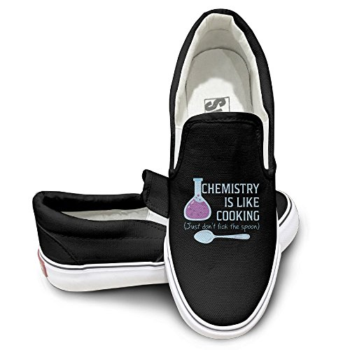 SH-rong Chemistry Is Like Cooking Unisex Canvas Sneakers Shoes Size 39 Black
