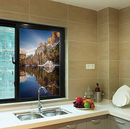 YOLIYANA Frosted Window Film,Yosemite,for Shop Restaurant Home,Yosemite Mirror Lake and Mountain Reflection on Water,24''x36''