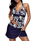 Eternatastic Womens Floral Tankini Two Piece Swimsuit Costume With Skirt Swimwear XXL Navy