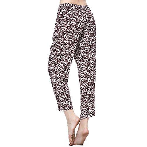 Damen Hosen Mädchen Leggings Floral Blumen Weich Rayon Boho Unterteile Damast Elastischer Bund Lässig Gedruckt Lounge Pants
