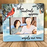 Memorial Picture Frame - When Cardinals Appear Angels are Near Loving Saying - Red Cardinal Scene - Bereavement Plaque