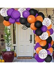 129 STKS Halloween zwart oranje paars latex ballonnen boog horror party decor voor Halloween thema feest achtergrond klaslokaal decoraties