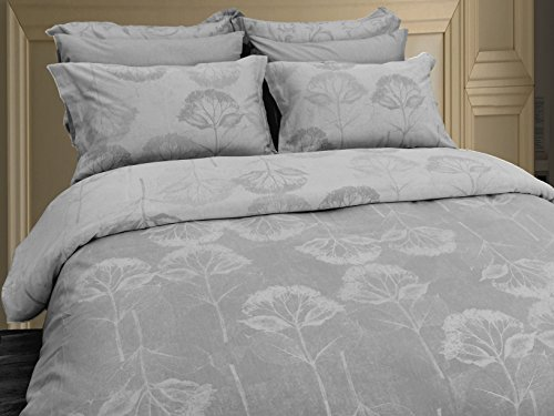 Yue Home Textile Yarn-dyed Linen Cotton Duvet Cover Set, HYDRANGEA, GREY, King