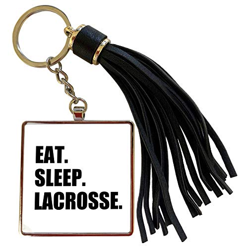 3dRose InspirationzStore Eat Sleep series - Eat Sleep Lacrosse - gifts for sport enthusiasts lax crosse black text - Tassel Key Chain (tkc_180418_1)