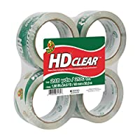 Duck HD Clear Heavy Duty Packaging Tape Refill, 4 Rolls, 1.88 Inch x 54.6 Yard, (240378)