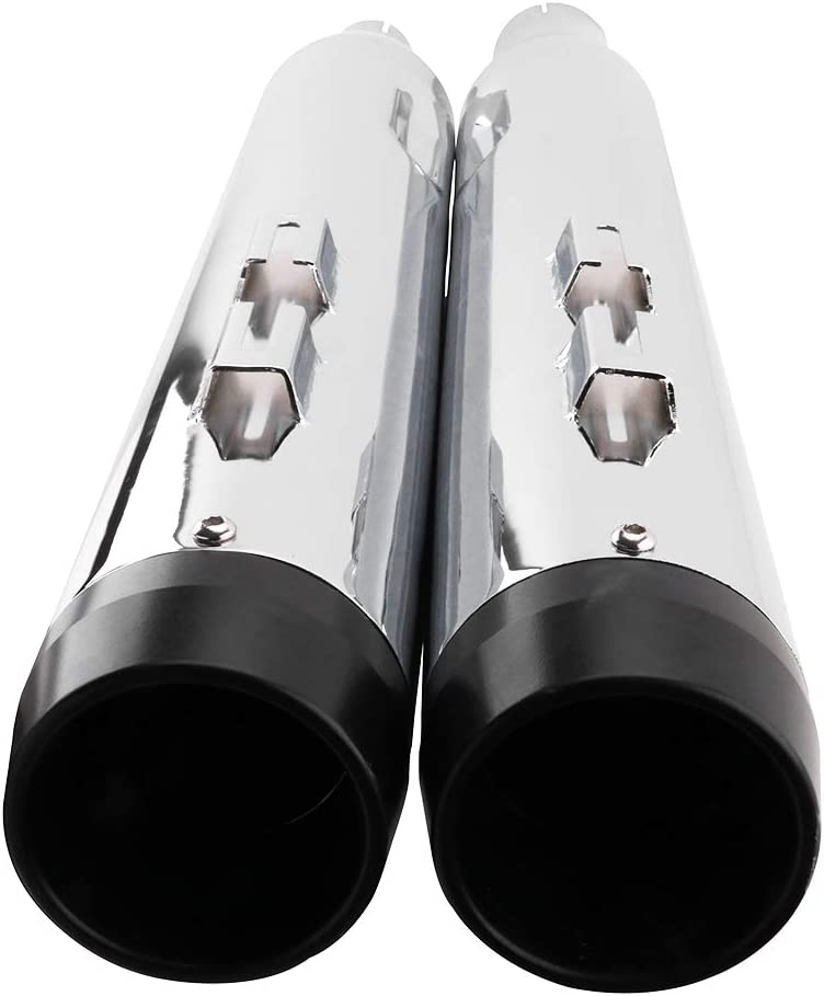 Street Glide Ultra Glide with stock Electra Glide Slip On Mufflers Exhaust Pipe Dresser Road King Bagger Models Road Glide Classic Chrome Megaphone Exhaust Pipe For 2017-UP Harley Touring