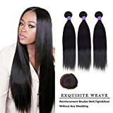 SHOWJARLLY #1 Jet Black Straight Hair Bundles 14″ 16″ 18″ 8A Brazilian Virgin Hair Straight Hair 3 Bundles Sew in Hair Weave Review