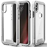 Zizo ION Series Compatible with iPhone X Case Military Grade Drop Tested with Tempered Glass Screen Protector iPhone XS Case Silver Clear