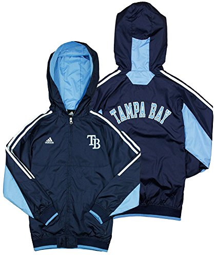 adidas Tampa Bay Devil Rays MLB Big Boys Lightweight Hooded Jacket - Navy Blue (Medium (10/12))