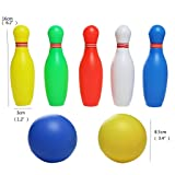 yoptote Small Bowling Toy Set Game Colorful Plastic Bowling Ball Pins Party Favors Kit Sport Toddler Educational Toys 12 Pcs Gift for Kids Baby Boys Girls Age