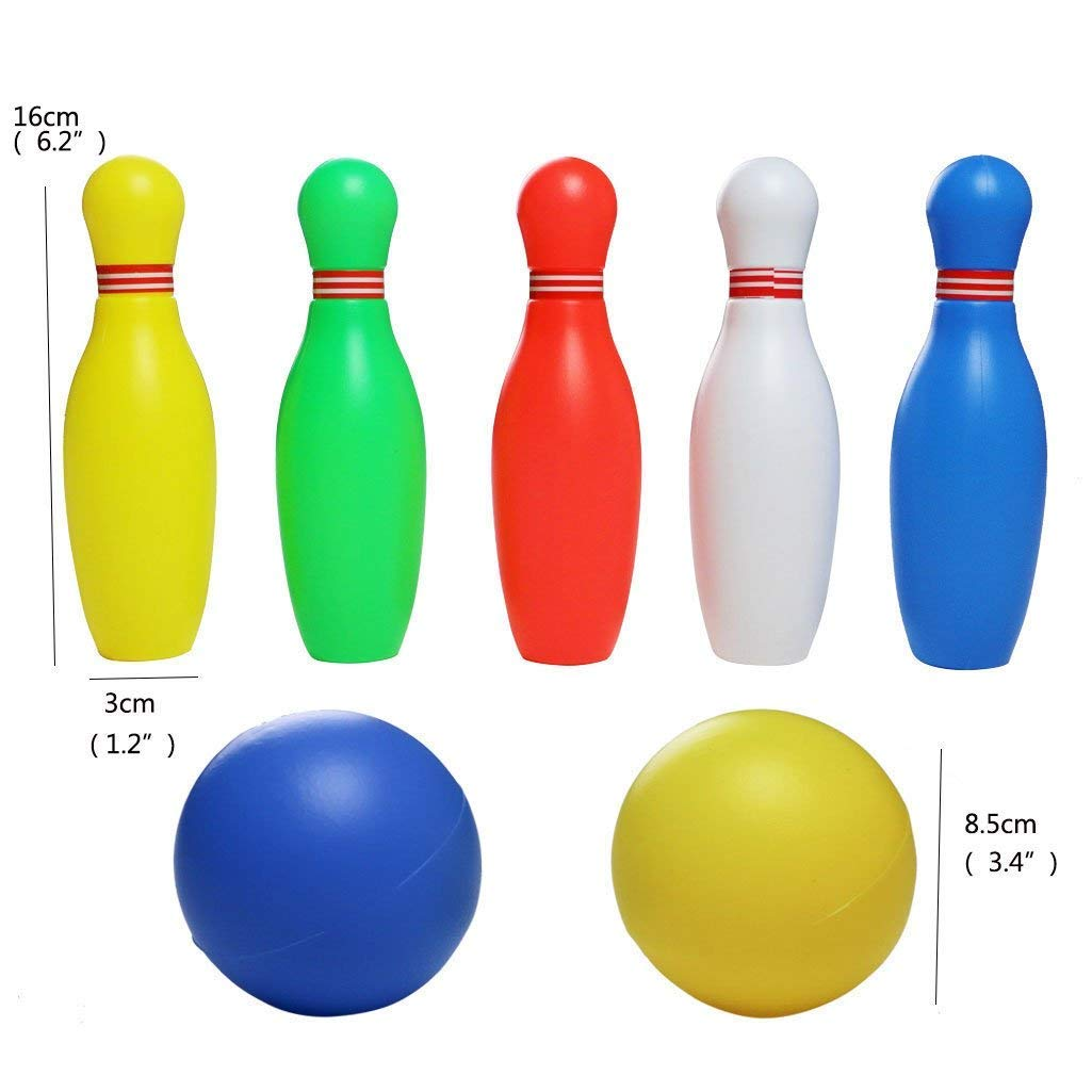 Bowling Ball Play Set Funny Plastics Bowling Games Kit Party Favors,Educational, Early Developmental Toys,(12 Pcs),Mini Bowling Great Gift for Baby Kids Boys Girls 2, 3, 4, 5 Year Olds,yoptote