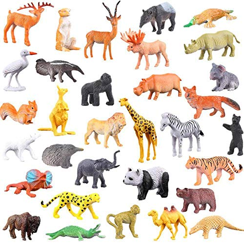 (GRACEON Jungle Animals Figures, 53 Pcs Mini Realistic Safari Wild Zoo Plastic Animals Learning Educational Toy Set for Kids Toddlers Forest Farm Animals Playset Cupcake Topper Party Favors)