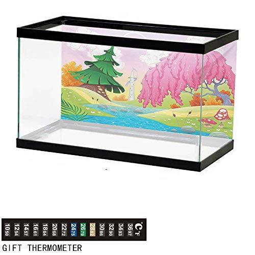 wwwhsl Aquarium Background,Cartoon,Fantasy Landscape with Unusual Trees Riverside Drawing Spring Summer Season Print,Multicolor Fish Tank Backdrop 72
