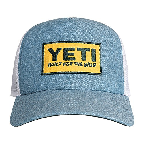 [YETI Deep Fit Foam Patch Trucker Hat Chambray] (Yeti Hat)