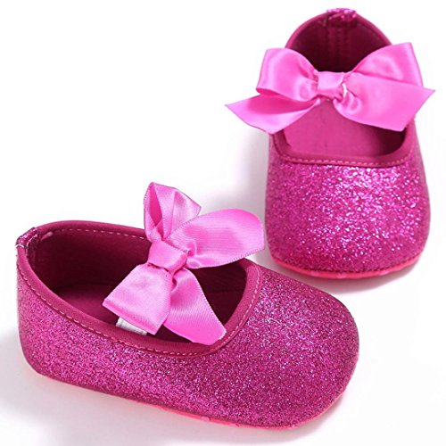 BZLine® Baby Mädchen Krippe Schuhe newborn Flower Soft Sole Anti-Slip Baby Sneakers Hot Pink