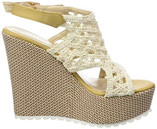 Tréssé Chaussure Femme Beige Plateforme Mode Sandale Angkorly Talon CM compensé Crochet Mule brodé Plateforme 13 8AxqR