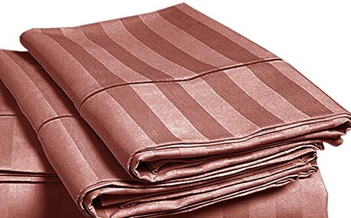 - CHATEAU HOME COLLECTION Luxury 500 Thread Count 100% Egyptian Cotton Damask Stripe Deep Pocket Super Soft Sateen Weave Sheet Set, Mega Sale Lowest Prices (Pillowcases - King Size, Sepia Rose)