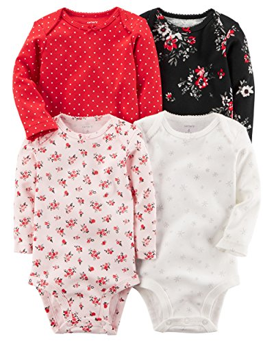 Carter's Baby Boys' 4-Pack Winter Red Girls Bodysuits 6 Months