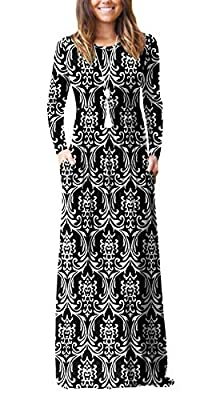 Viishow Women's Long Sleeve Loose Plain Maxi Dresses Casual Long Dresses with Pockets