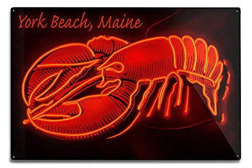Lilyanaen New Great York Beach Maine Neon Lobster Sign Aluminum Wall Sign Wall Decor Ready to Hang for Outdoor & Indoor 12 x 18 in