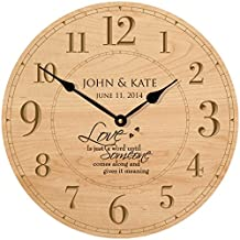 """Personalized Wedding Anniversary Gifts Modern Decorative Wall Clocks Housewarming Gifts for Couple 12""""x 12"""" By Dayspring Milestones (Maple)"""