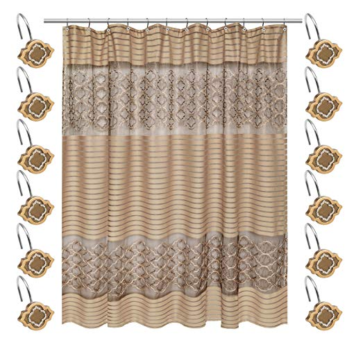 (Rod Not Include)Shower Curtain w/12 Hooks Bathroom Bathtub Accessories Liners Decorative Scene Screen Partition Spindle Fabric Contemporary Hand Wipe Machine Wash Gold Color 70