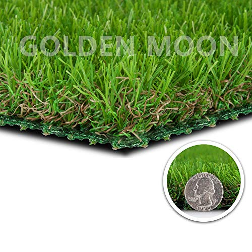 "GOLDEN MOON Realistic Artificial Grass Mat 6.6'x 33'(218sq ft) 6-Tone Mowed-Lawn Touch Outdoor Turf Rug 1.06"" Blade Height Series Green"