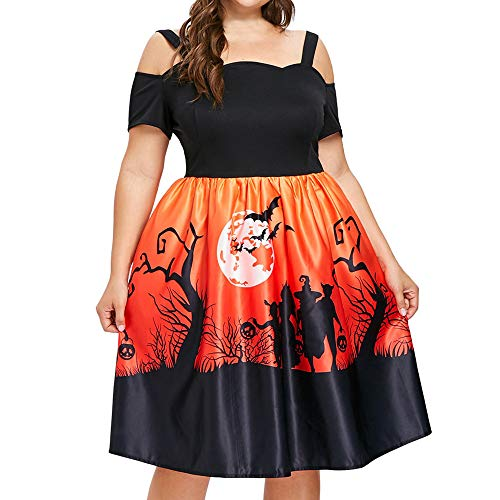 Clearance Halloween Dress, Forthery Women Pumpkin Cold Shoulder Skater Swing Dress A-line Dress Plus Size (2XL, Orange)