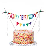 Happy Birthday Cake Topper Banner, Colorful Decorating Bunting for Birthday Decorations - Multicolor