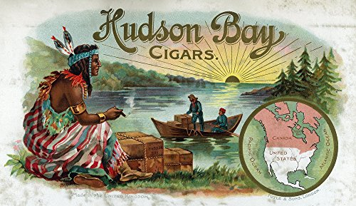 Hudson Bay Brand Cigar - Native American - Vintage Label (24x36 SIGNED Print Master Giclee Print w/Certificate of Authenticity - Wall Decor Travel Poster)