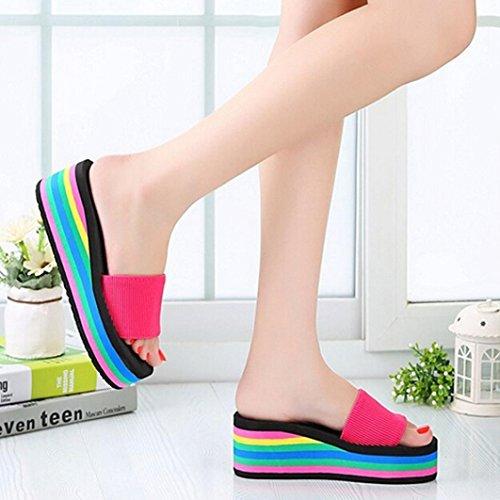 Euone Kvinner Rainbow Sommerskli Sandaler Kvinnelige Stranden Tøfler Hot Pink