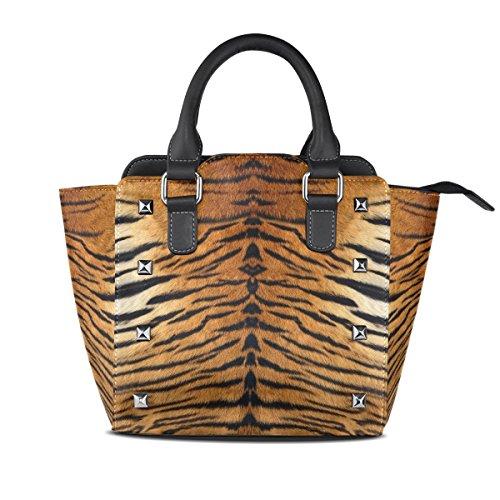 Use4 Tiger Animal Print Rivet PU Leather Tote Bag Shoulder Bag Purse